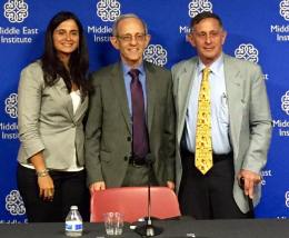 Joyce Karam (left), Dr. Daniel Serwer (center), and roy Gutman (right). PC: Eddie Grove