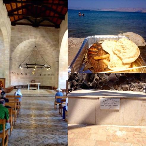 In June, Israeli Jewish extremists torched the Church of the Multiplication (left) associated with Jesus's Multiplication of the Loaves & Fishes.  Authorities also found graffiti denouncing idol worship.  On his visit there, the author enjoyed some modern-day loaves and fishes beside the Sea of Galilee/ Kinneret (top right) in Tiberias.  Tiberias is also home to the tomb of Maimonides aka the Rambam, a Medieval Sephardic  Jewish Scholar.  Recently, Benzi Gopshtain, the head of the extremist group Lehava, used the Rambam's opinion that Christianity is idolatry as justification for torching churches. PC: Eddie Grove