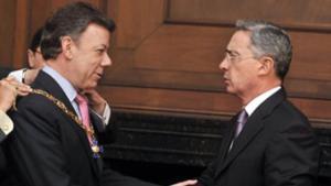 Juan Manuel Santos and Álvaro Uribe