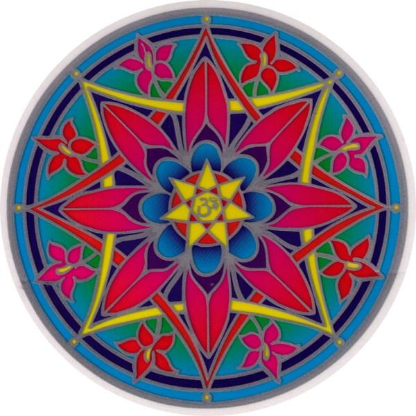 """Om Flower Mandala - Window Sticker Decal 5.5"""" Circular"""