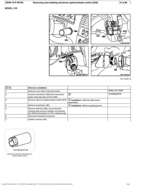 Service manual [How To Remove Ignition Switch From A 1996