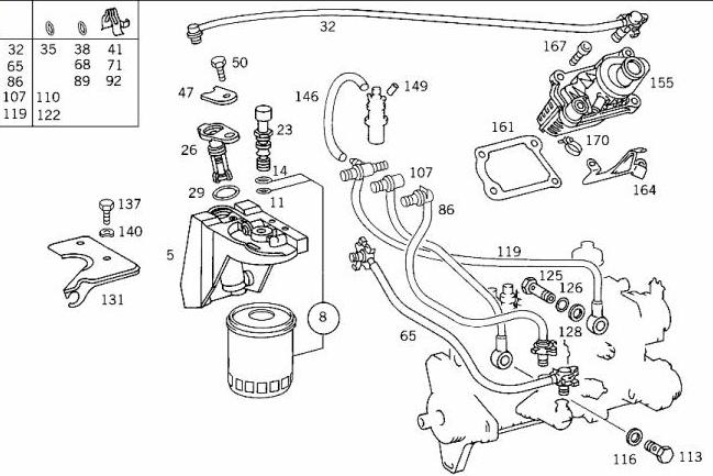 Mercedes 190d fuel injector line