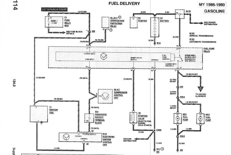 W124 Fuel Pump Relay Wiring Diagram