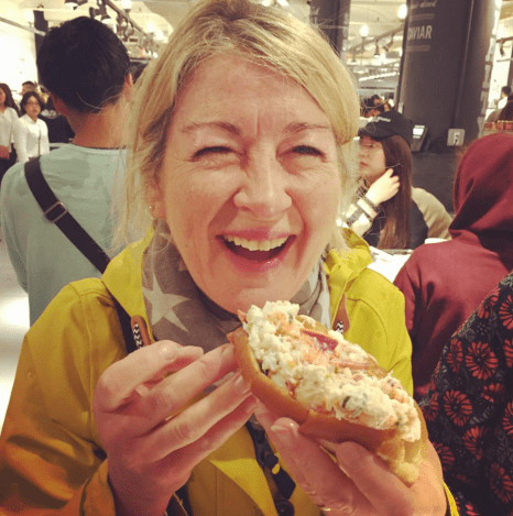 My mum with her lobster roll