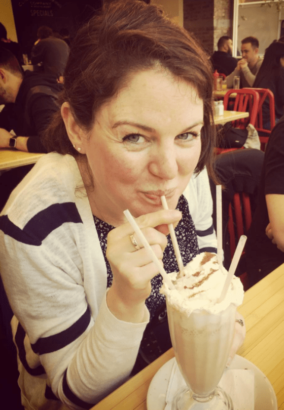 My sister with the Mexican coffee milkshake