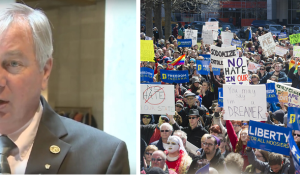 Indiana Senator Jim Tomes proposed SB 285 to break up protests by any means necessary