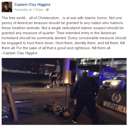 "Republican Congressman Captain Clay Higgins on Suspected Islamic Radicals: ""Kill Them All"""