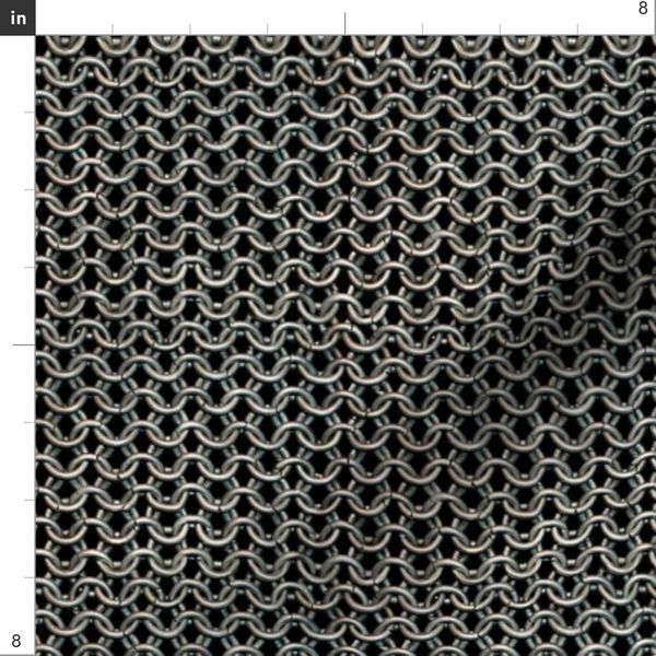fabric with a silver chainmail pattern on a black background