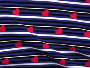 leather pride flag color fabric, with red hearts and alternating stripes of blue, black, and white stripes