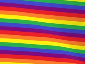LGBTQ+ rainbow pride flag fabric, with alternating stripes of red, orange, yellow, green, blue, and purple