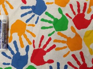 multicolor hand prints on white
