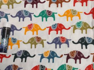 multicolor, childlike drawings of elephants with blankets on their backs