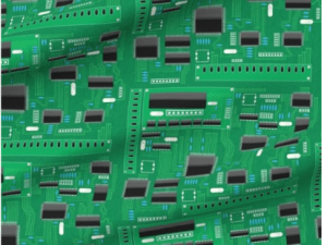 green circuit board with black chips