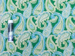 blue and green paisley on a dark green background