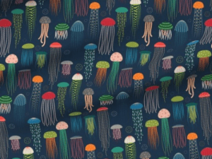 multi-colored jellyfish on a dark blue background