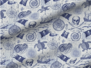 navy skulls, pirate shipd, and other nautical themed motifs