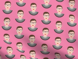 Ruth Bader Ginsberg on a pink background