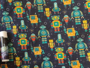 multicolored vintage-style robots on a black background