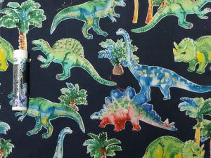 dinosaurs and prehistoric plants on a black background