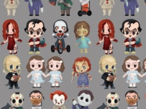 Chibi characters from lots of popular horror movies