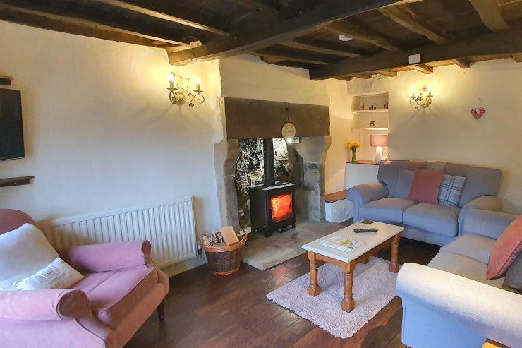 Tudor Cottage, Foolow - Sitting Room with Log Burning Stove