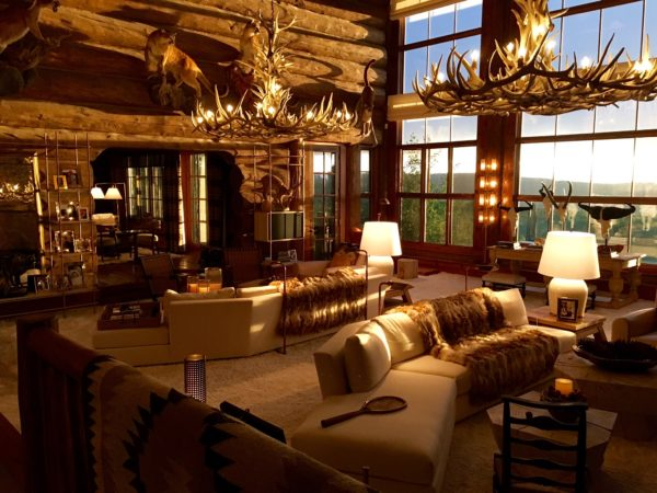 custom antler chandeliers Great room evening