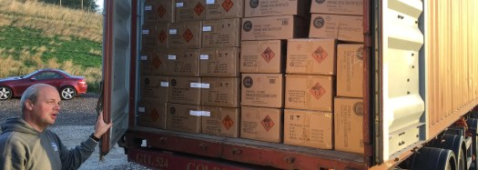 A container load of fireworks arrives at the depot for safe storage