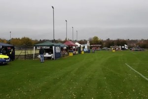 Field set up with stalls as part of a community fireworks display