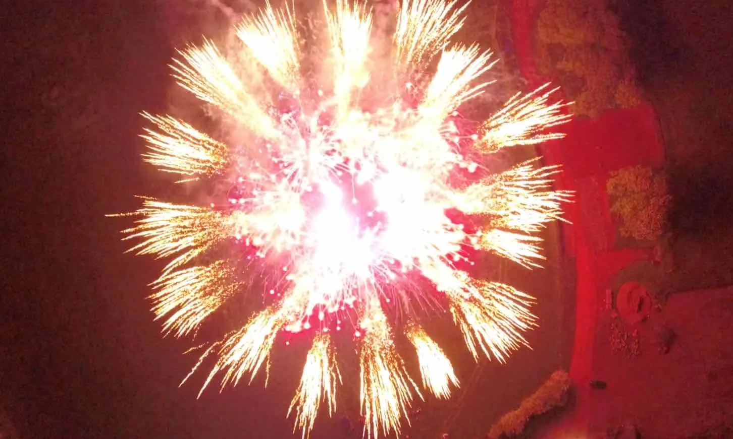 Aerial view of pyrotechnic display