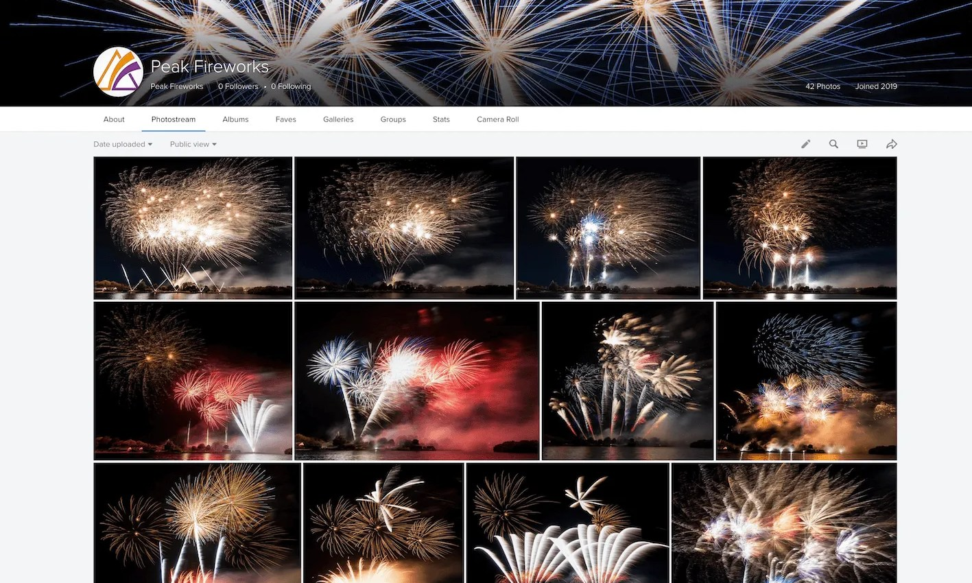 Montage of professional fireworks in night sky