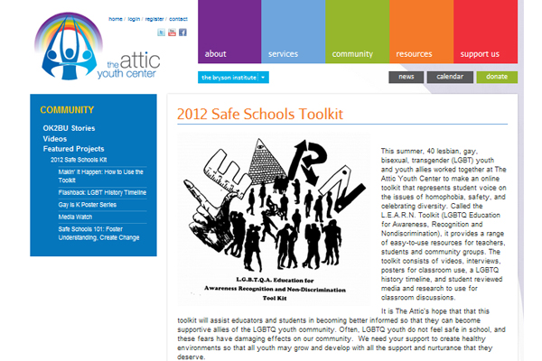 "The Attic Youth Center Publishes ""Safe Schools Toolkit"" Created by LGBT Youth"