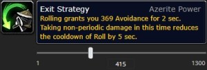 The tooltip of the new monk azerite trait Exit Strategy at item level 415.