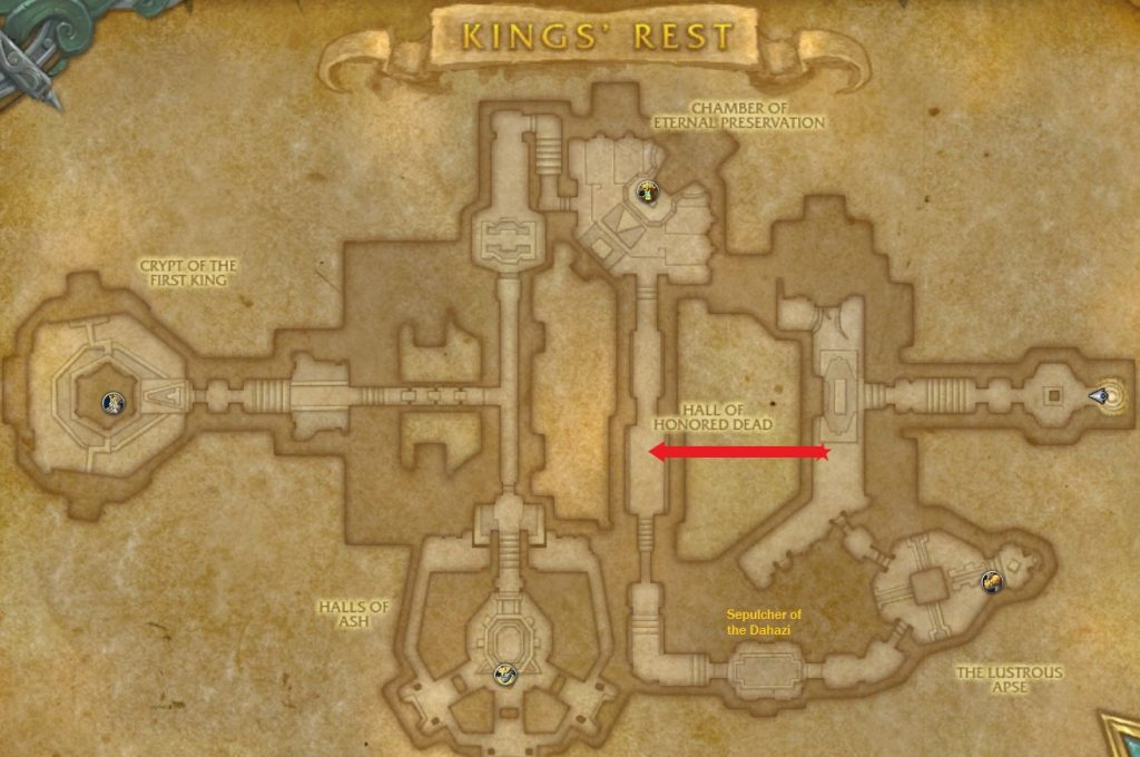 A labelled map of the dungeon King's Rest
