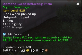 A patch 8.1.5 item tooltip to demonstrate patch 8.2's scaling buff