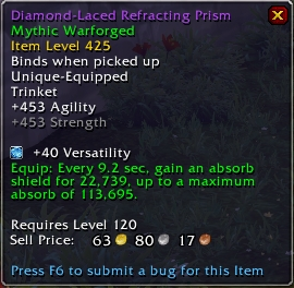 A trinket tooltip in patch 8.2, Tides of Vengeance, demonstrating a scaling buff
