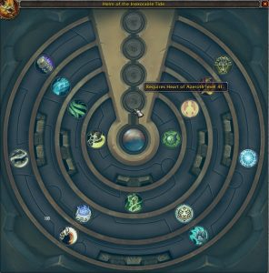 A raid-level azerite item in Tides of Vengeance showing its heart requirements