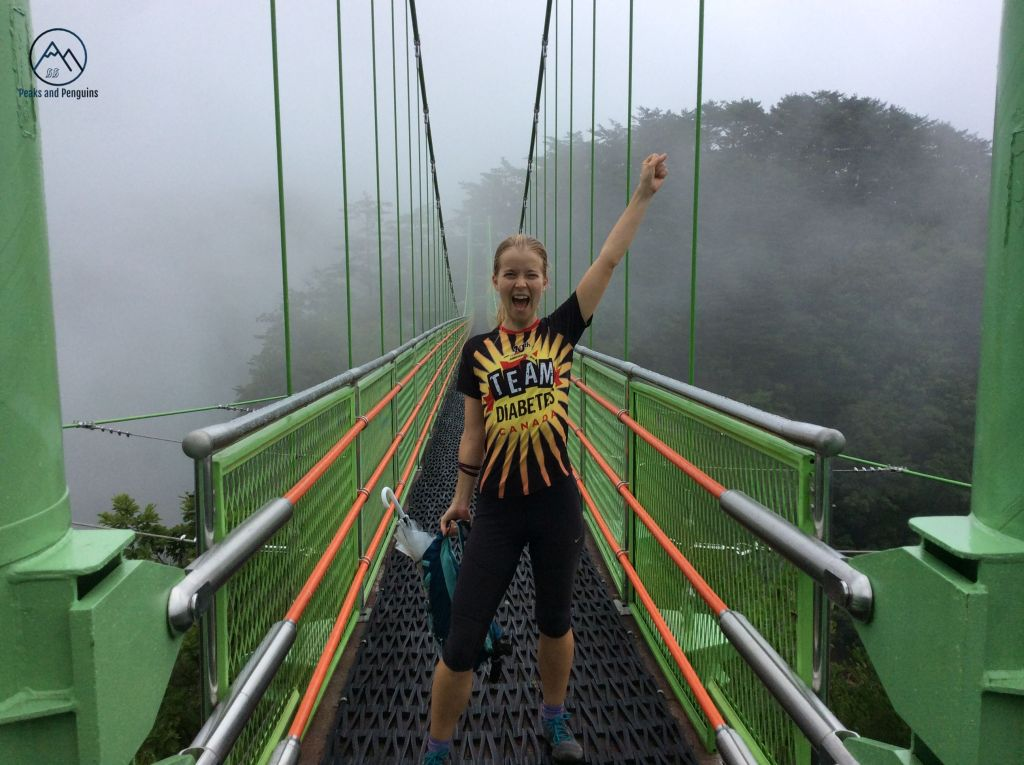 An image of the author on the suspension bridge spanning two peaks on the rocky ridge of Cheongnyangsan. The bridge is painted green, with high railings and long support cables. The author stands on the bridge with a fist raised in the air...but her running backpack and umbrella in the other hand, because she was afraid of a lighting strike.