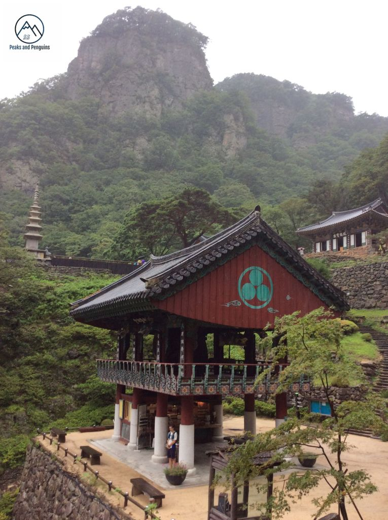 An image of the beautiful scenery at Cheongnyangsangsa temple. The author's husband stands beneath a large gate in the center of the frame. He is dwarfed by the massive, two-storey burgundy building beneath a sloping slate roof. Another building sits above and to the right, on a terrace, and there is a stone pagoda reaching upwards from another terrace to the left. Above it all, one of the rocky peaks of Cheongnyangsan rises into the mist.