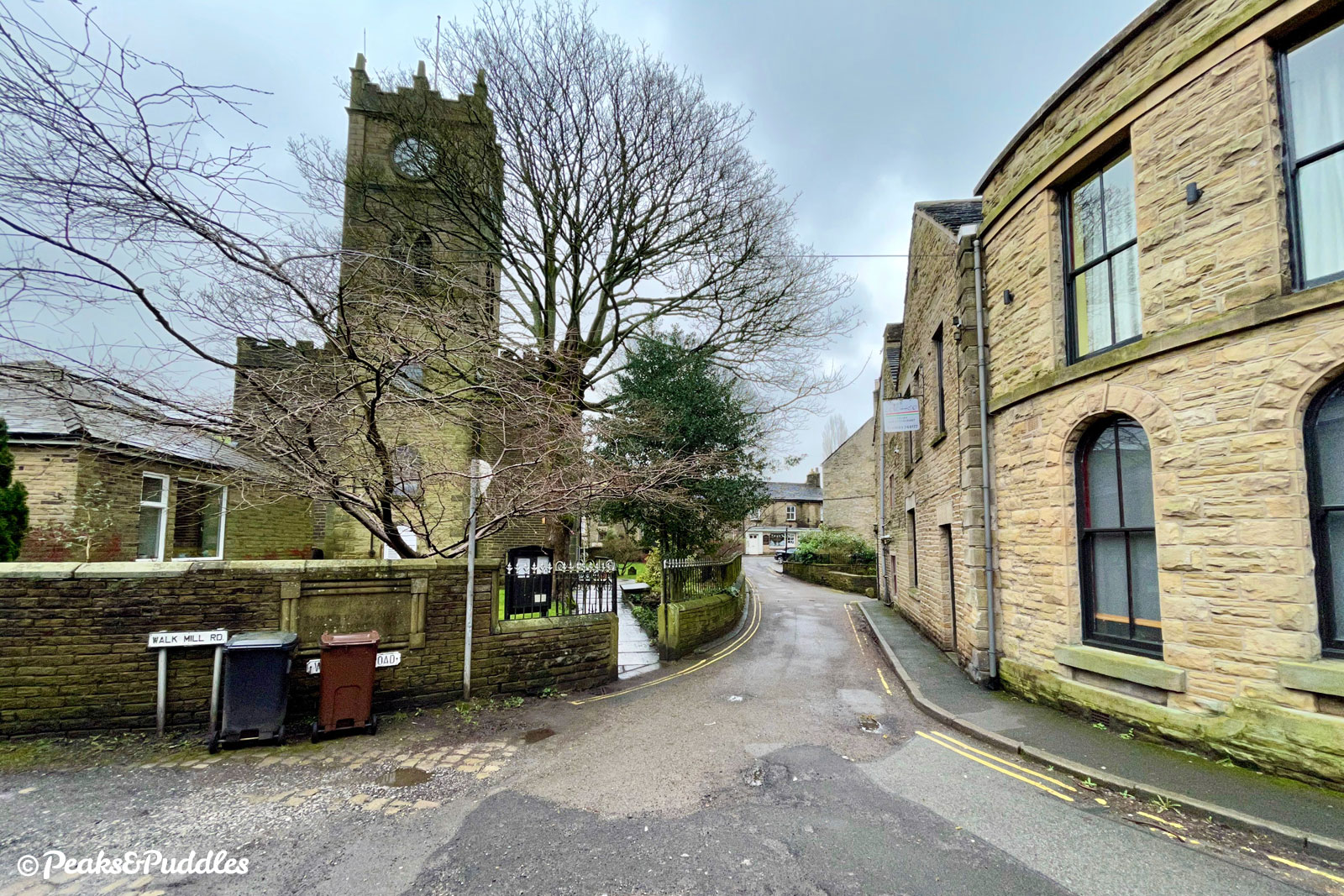 Onto Walk Mill Road from the A624 crossing, St Matthew's Church is on the left.