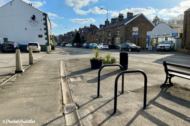 New cycle stands near Whaley Bridge Primary School and The Cock pub.