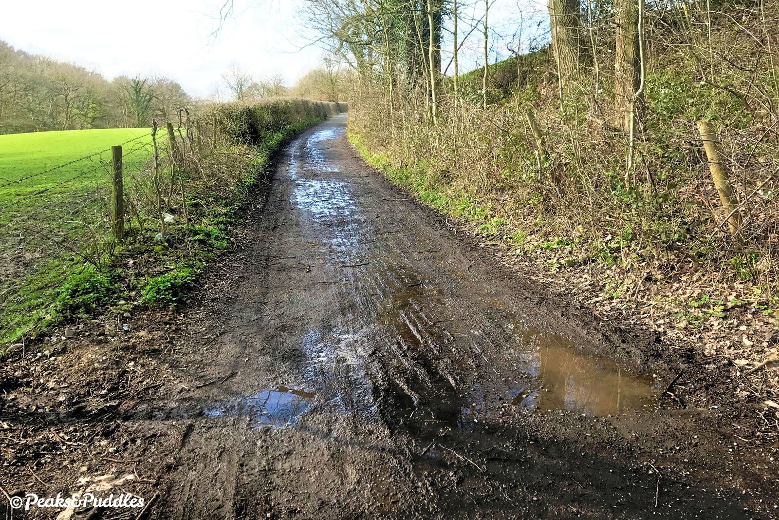 Seen in winter, or even a wet summer, many parts of the route have a wet, splattery surface.