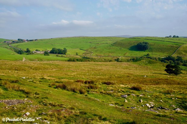 Brickworks from afar: looking towards Bakestonedale Farm, where the gradient shifts up a notch again, from Bakestonedale Moor.
