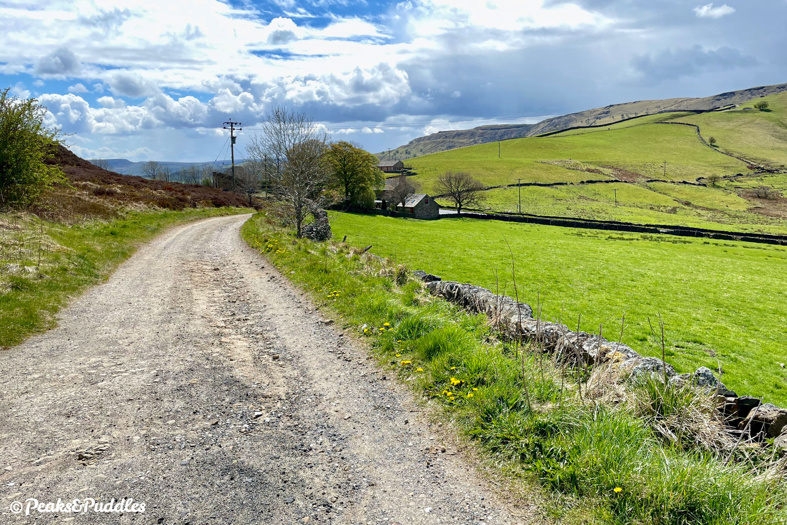 (Bridleway option) The smoother finale of the bridleway from the foot of Mount Pleasant over towards Chinley Churn, escaping the A624 below.