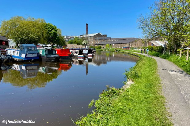 Leaving New Mills Marina, the River Goyt soon comes into view down in the valley below Goytside Meadows.