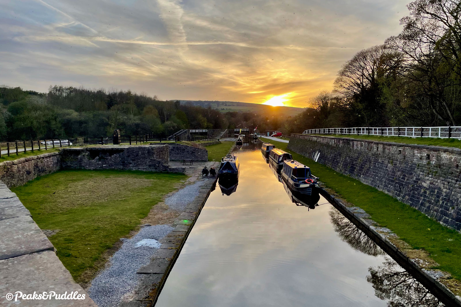 The end of the adventure: sunset at Bugsworth Basin.