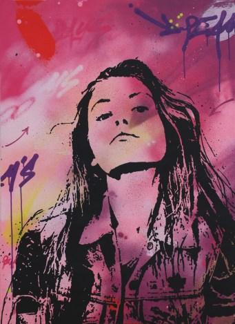 l'éffrontée est une peinture streetart par peam's streetartiste et artiste urbain