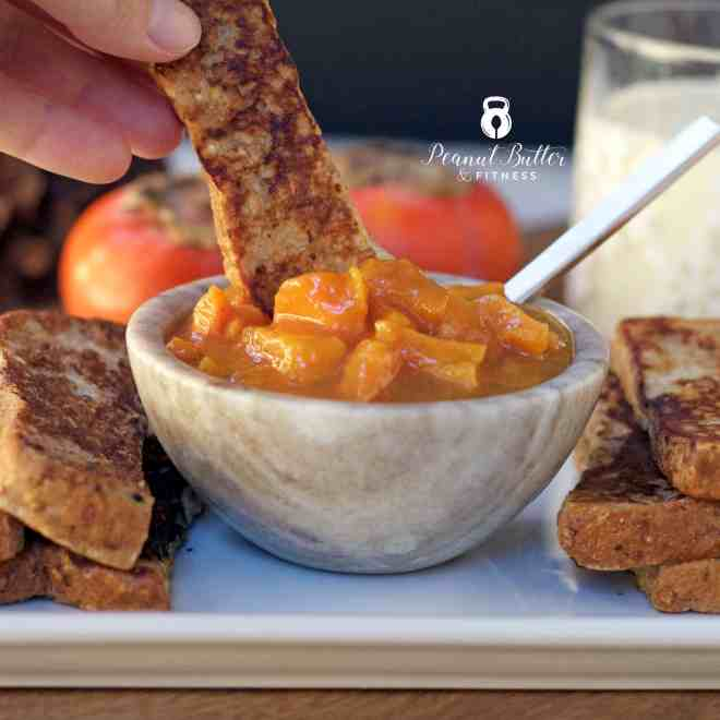 Eggnog French Toast Sticks with Spiced Persimmon Compote