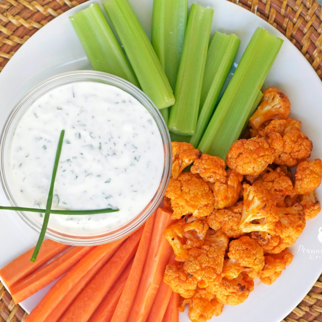 Paleo Buffalo Cauliflower Bites with Ranch Dip