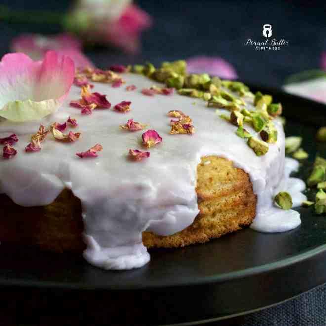 Rose Pistachio Protein Cake