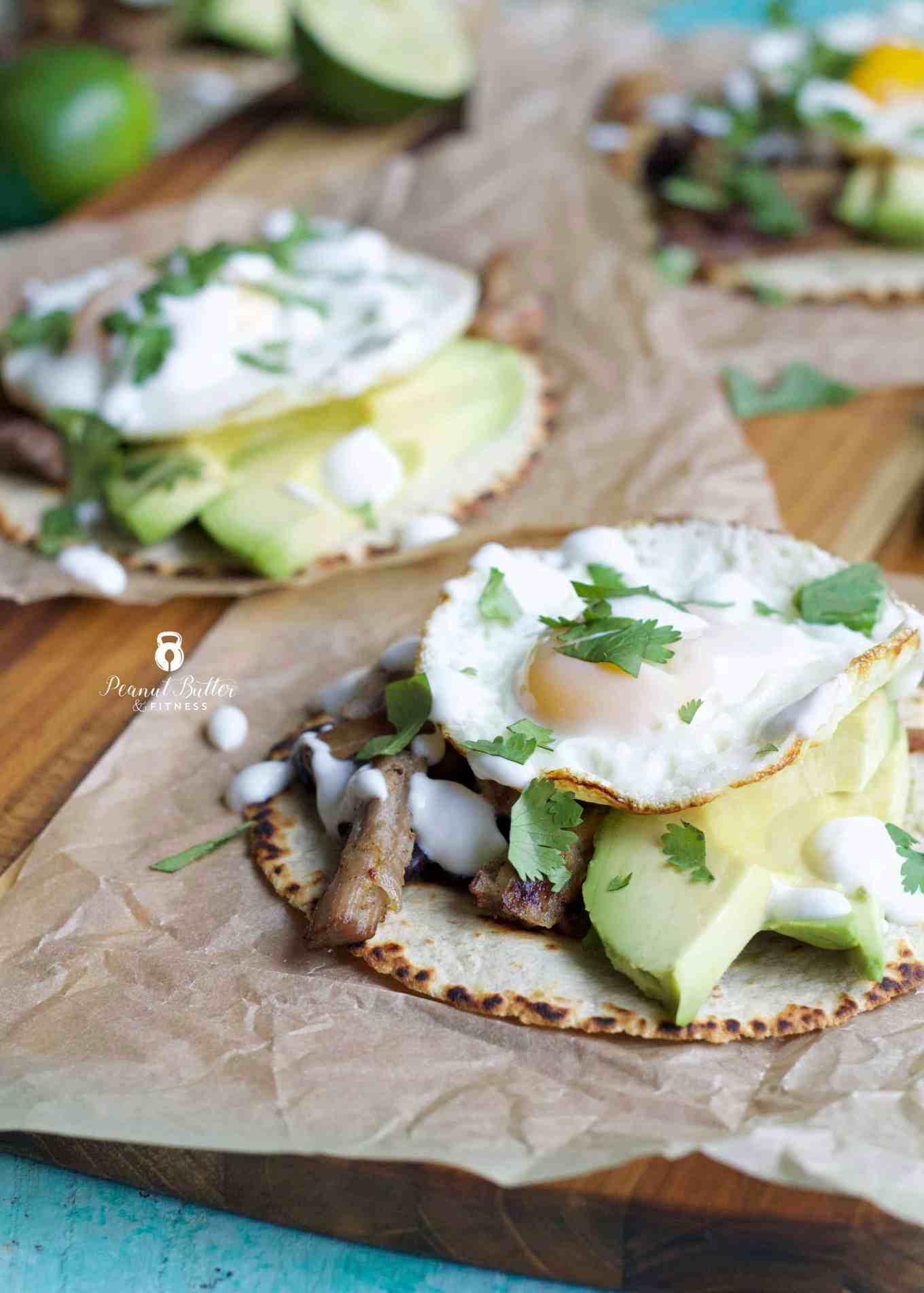Carnitas Breakfast Tacos with Lime Crema